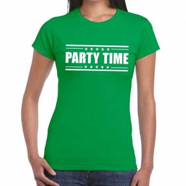Party time t shirt groen dames