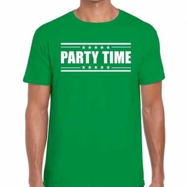 Party time t shirt groen heren