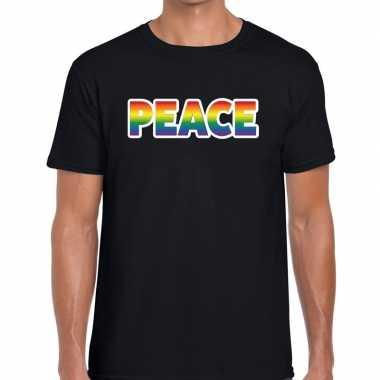 Peace regenboog gay pride shirt zwart heren