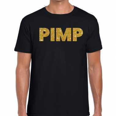 Pimp glitter tekst t shirt zwart heren