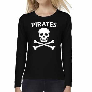 Pirates tekst t shirt long sleeve zwart dames