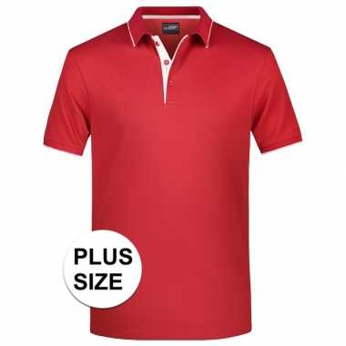 Plus size polo t shirt high quality rood/wit heren