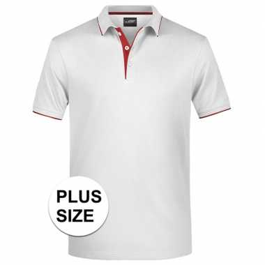 Plus size polo t shirt high quality wit/rood heren