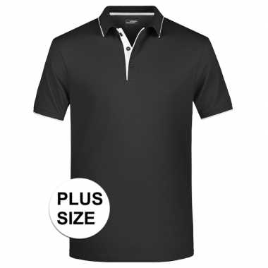 Plus size polo t shirt high quality zwart/wit heren