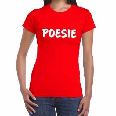 Poesie fun tekst t shirt rood dames