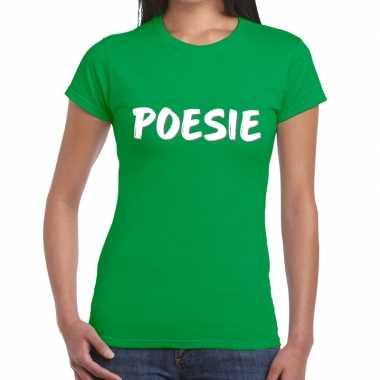 Poesie tekst t shirt groen dames