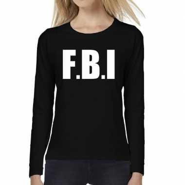 Politie fbi tekst t shirt long sleeve zwart dames