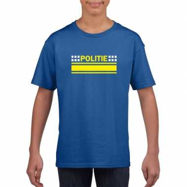 Politie logo t shirt blauw kinderen