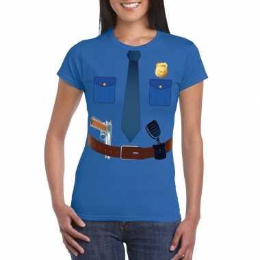 Politie uniform kostuum t shirt blauw dames
