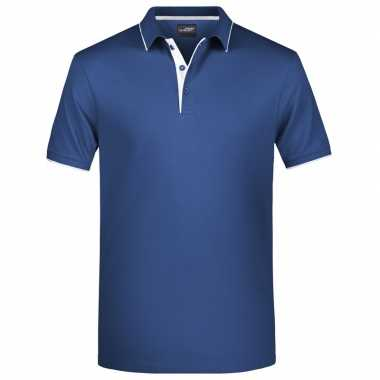 Polo t shirt high quality navy/wit heren