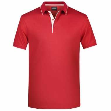 Polo t shirt high quality rood/wit heren