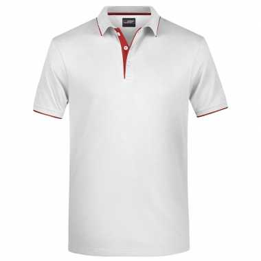 Polo t shirt high quality wit/rood heren