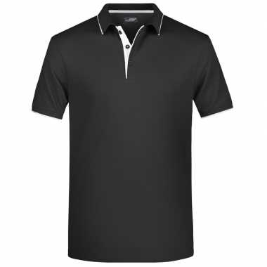 Polo t shirt high quality zwart/wit heren