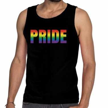 Pride gaypride tanktop/mouwloos shirt zwart heren
