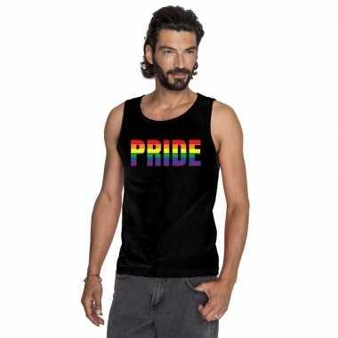 Pride regenboog tekst singlet shirt/ tanktop zwart heren