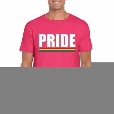 Pride shirt roze regenboog vlag heren