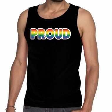 Proud gay pride tanktop/mouwloos shirt zwart heren