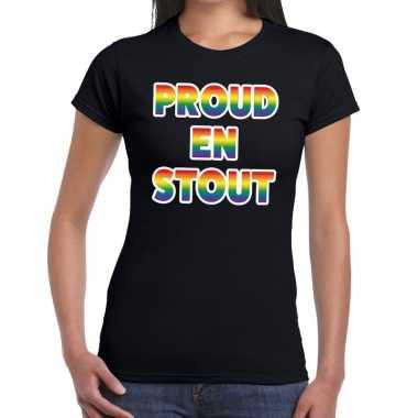 Proud stout gay pride t shirt zwart dames