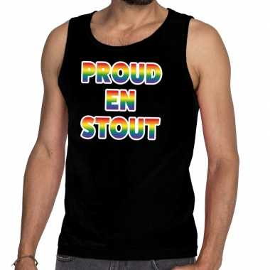 Proud stout/mouwloos shirt gay pride tanktop zwart heren