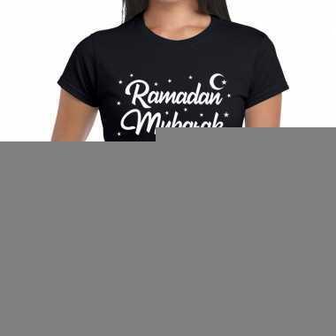 Ramadan mubarakt-shirt zwart dames