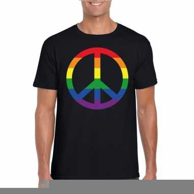 Regenboog peace teken shirt zwart heren