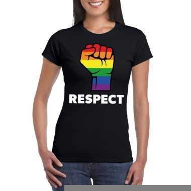 Respect lgbt shirt regenboog vuist zwart dames