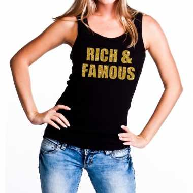 Rich and famous glitter tanktop / mouwloos shirt zwart dames
