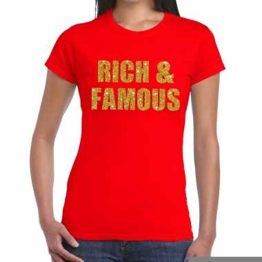 Rich and famous glitter tekst t shirt rood dames