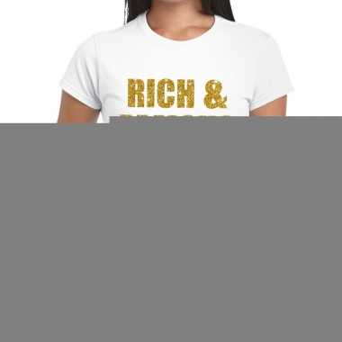 Rich and famous glitter tekst t shirt wit dames