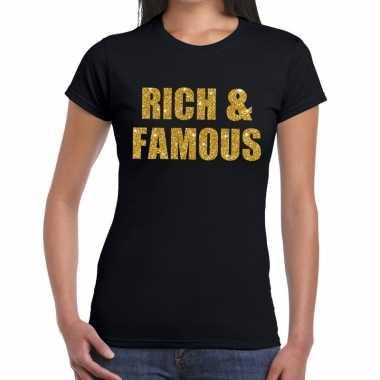 Rich and famous glitter tekst t shirt zwart dames