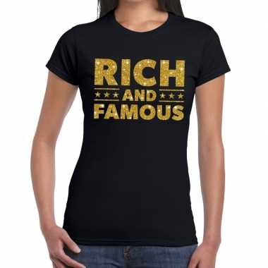 Rich and famous goud glitter tekst t shirt zwart dames