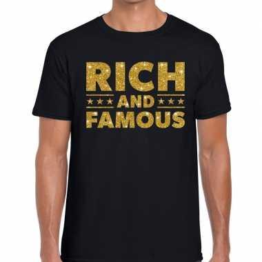 Rich and famous goud glitter tekst t shirt zwart heren