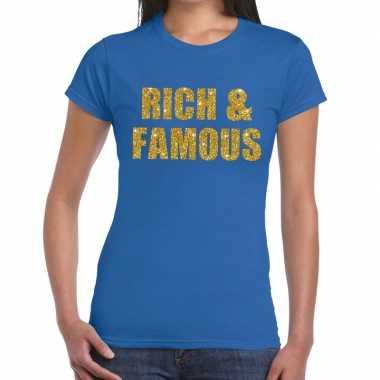 Rich and famous gouden glitter tekst t shirt blauw dames