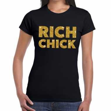 Rich chick goud glitter tekst t shirt zwart dames