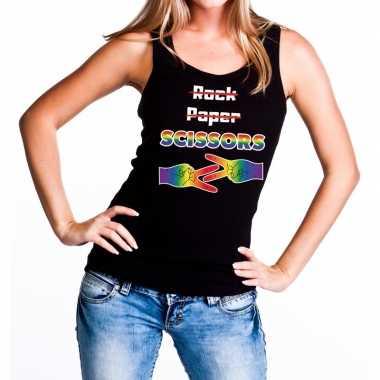 Rock paper scissors gaypride tanktop/mouwloos shirt zwart dames