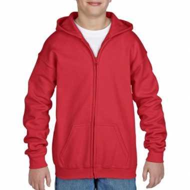 Rode sweatshirt rits jongens