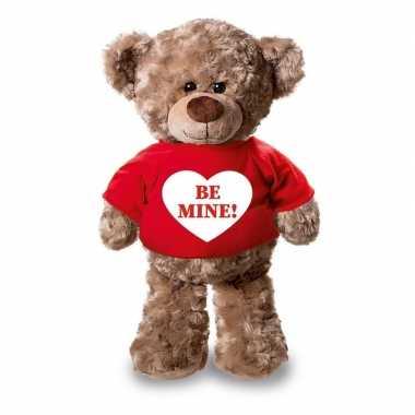 Romantisch cadeau be mine hartje knuffel beer rood shirt 24
