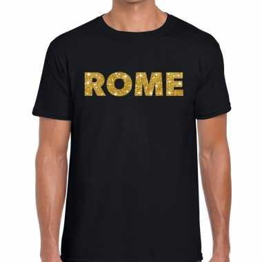 Rome gouden glitter tekst t shirt zwart heren