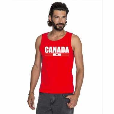 Rood canada supporter singlet shirt/ tanktop heren
