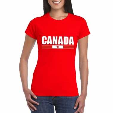 Rood canada supporter t shirt dames
