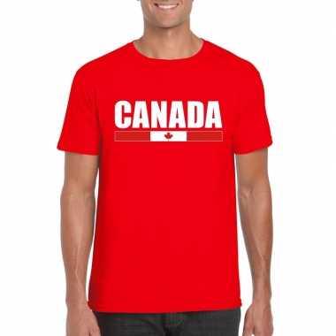 Rood canada supporter t shirt heren