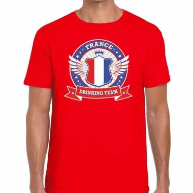Rood france drinking team t shirt heren
