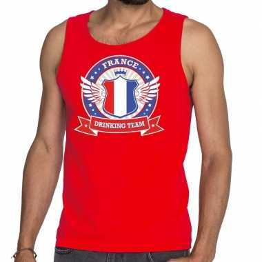 Rood france drinking team tanktop / mouwloos shirt heren