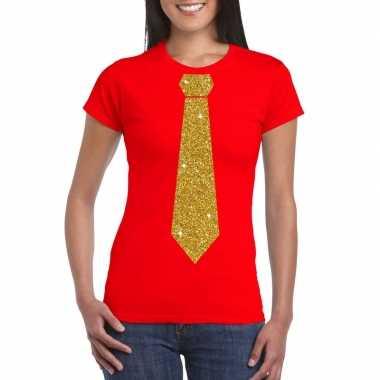 Rood fun t shirt stropdas glitter goud dames