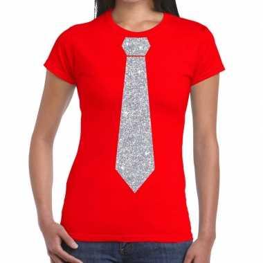 Rood fun t shirt stropdas glitter zilver dames