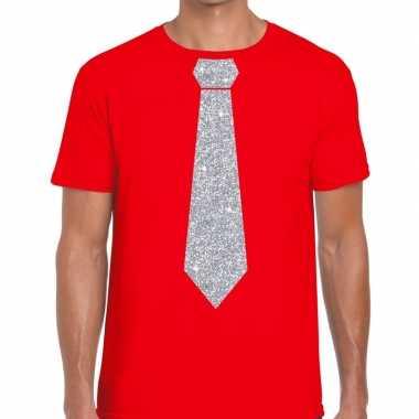 Rood fun t shirt stropdas glitter zilver heren