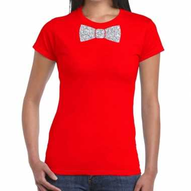 Rood fun t shirt vlinderdas glitter zilver dames