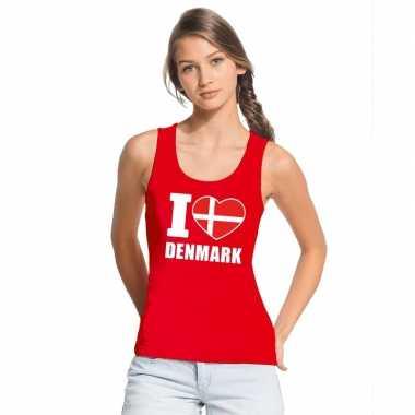 Rood i love denemarken fan singlet shirt/ tanktop dames