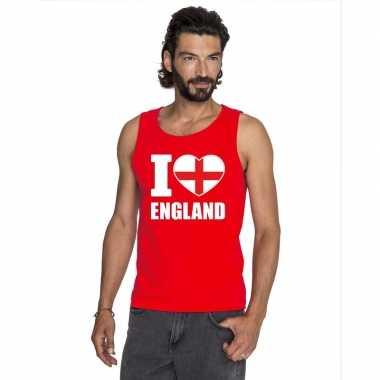 Rood i love engeland fan singlet shirt/ tanktop heren