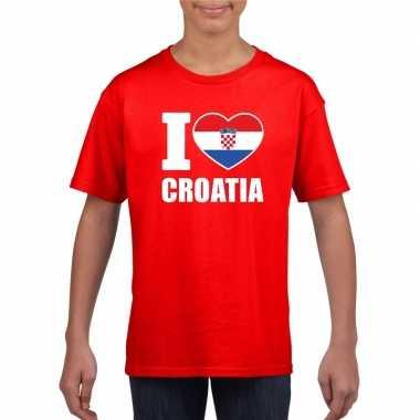 Rood i love kroatie fan shirt kinderen